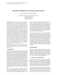Real-Time Scheduling of Sensor-Based Control Systems - CiteSeerX