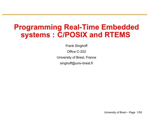 Programming Real-Time Embedded systems : C/POSIX and RTEMS