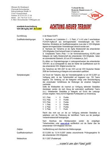 erweiterte Ausschreibung VDH DM Agility 2007, 09.12 ... - aktivity.de