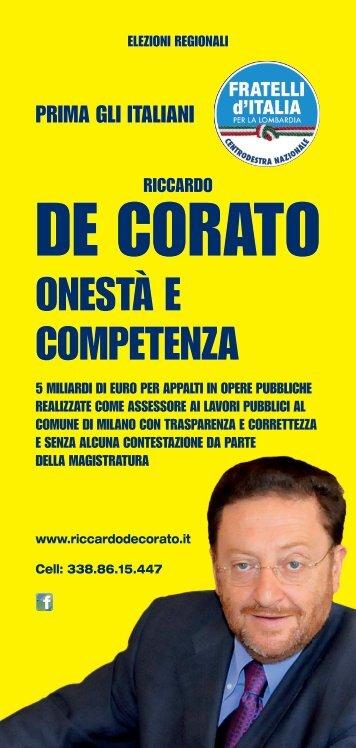 clicca qui per scaricare il volantino - Riccardo De Corato