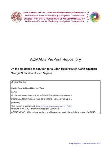 Download (174Kb) - ACMAC's PrePrint Repository