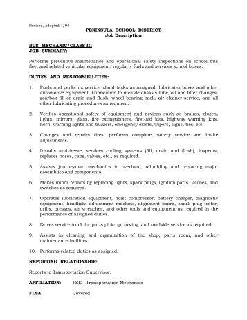 Job Description For Mechanic. Job Description For Automotive