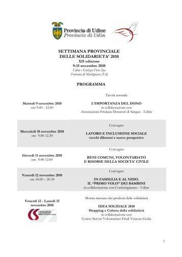 settimana provinciale delle solidarieta' 2010 - Associazione ...