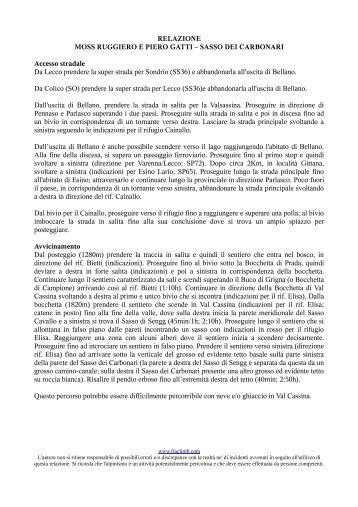 RELAZIONE MOSS RUGGIERO E PIERO GATTI – SASSO DEI ...