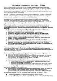Carta aberta à comunidade científica e a CTNBio - Jorge Machado