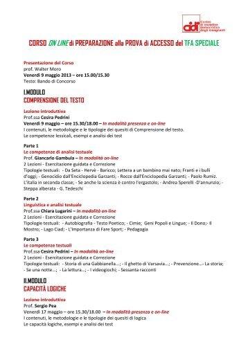 CORSO ON LINE di PREPARAZIONE alla PROVA di ... - Cidi di Milano