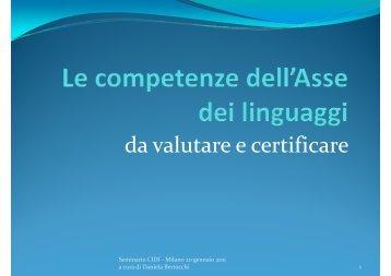 Le Competenze dell'Asse dei Linguaggi
