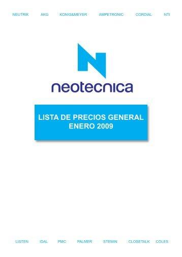 LISTA DE PRECIOS GENERAL ENERO 2009 - Neotécnica