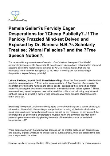 speech dogmatization ethico moral shortfalls and logical pamela geller s fervidly eager desperations for cheap publicity the panicky