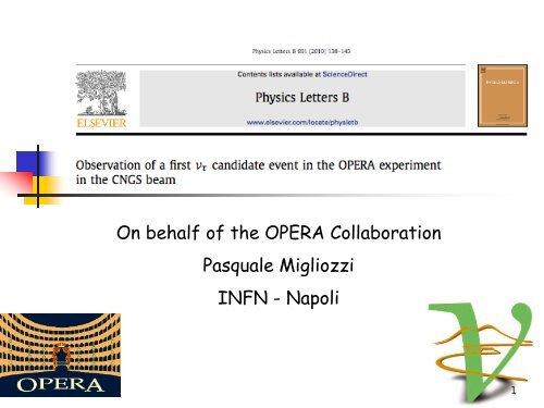 Diapositiva 1 - opera - Infn