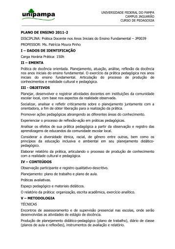 PLANO DE ENSINO 2011-2 DISCIPLINA - UNIPAMPA Cursos