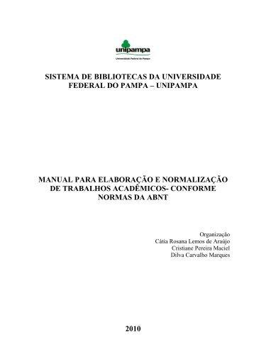 MANUAL trabalhos academicos - UNIPAMPA Cursos