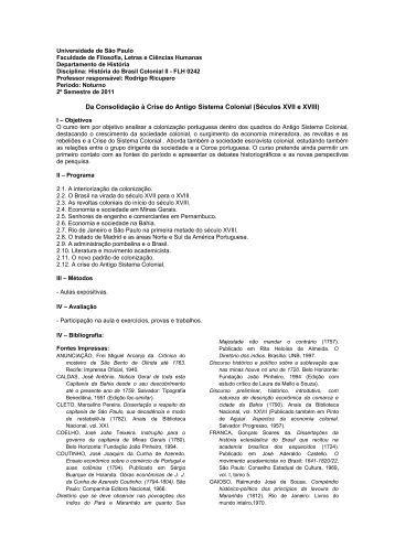 História do Brasil Colonial II - Departamento de História - USP