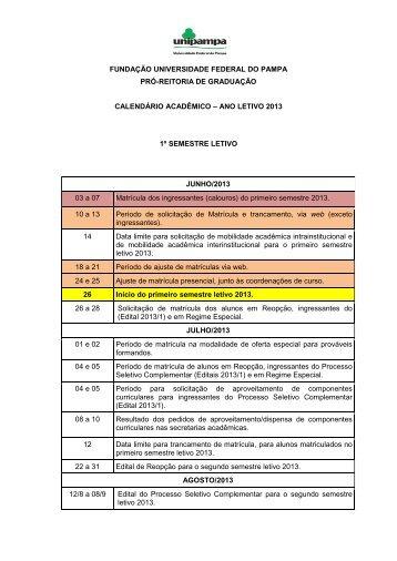 Calendario Academico – 2013 - UNIPAMPA Cursos