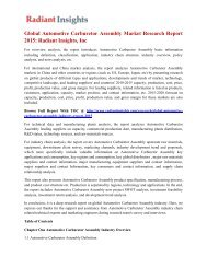 Global Automotive Carburetor Assembly Market Research Report 2015: Radiant Insights, Inc