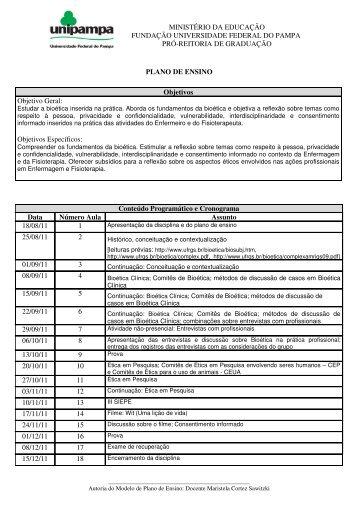 Plano de ensino Bioetica 2011 2 - UNIPAMPA Cursos