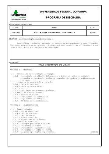 PRG Física Para Engenharia Florestal I - UNIPAMPA Cursos