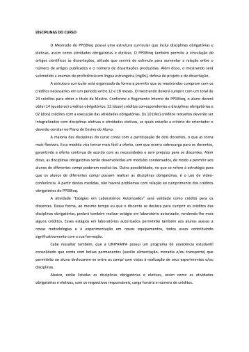 disciplinas do mestrado - UNIPAMPA Cursos