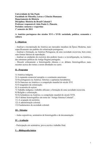 História do Brasil Colonial I - Departamento de História - USP