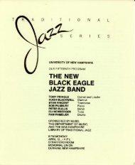 THE NEW BLACK EAGLE JAZZ BAND - University of New Hampshire