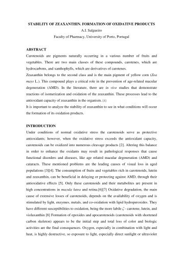 STABILITY OF ZEAXANTHIN. FORMATION OF OXIDATIVE ...