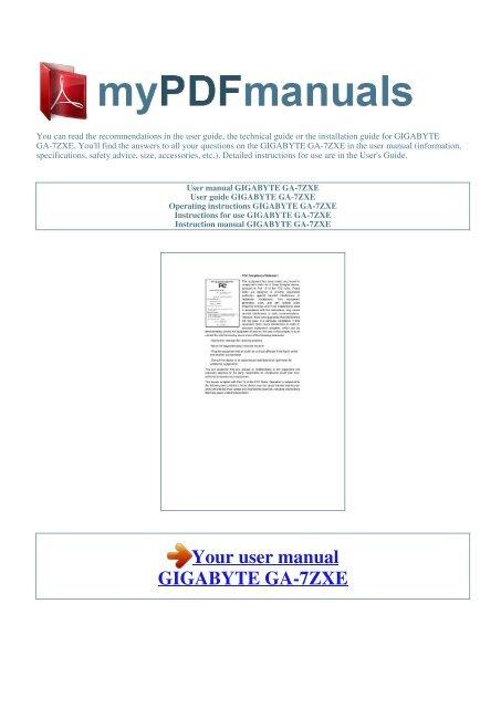 DOWNLOAD DRIVER: GIGABYTE GA-7ZXE (REV 1.X)