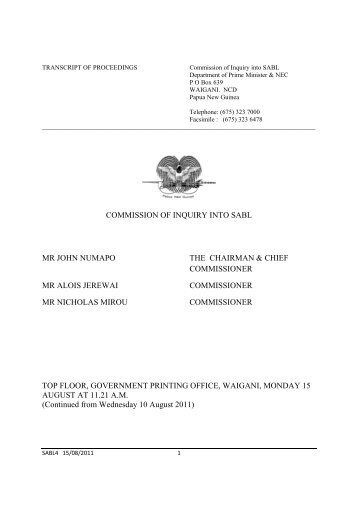 commission of inquiry act