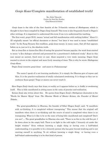 Genjo Koan (Complete manifestation of established ... - sotozen-net