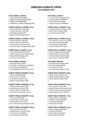 Download results for Swedish Karate Open 2013
