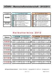 OÖSRV Spielplan Saison 2012-2013 - Styria Squash People