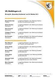 Ehrungen 2011 - VfL Waiblingen