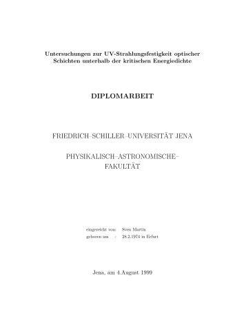 Untersuchungen zur UV-Strahlungsfestigkeit optischer Schichten ...