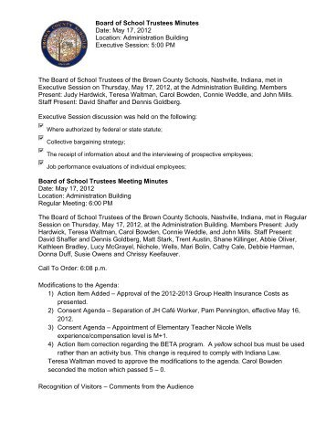 05-17-12 Minutes.pdf - Brown County Schools