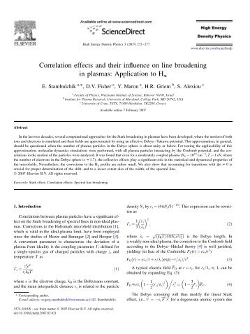 Correlation effects and their influence on line broadening in plasmas ...