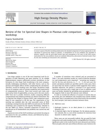 Review of the 1st Spectral Line Shapes in Plasmas code ...