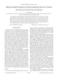 High-electron-temperature diagnostics of transient ionizing plasma ...