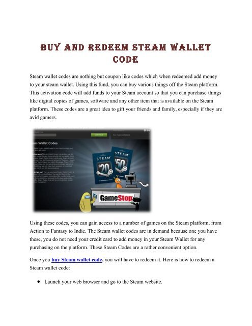 Buy and Redeem Steam Wallet Code