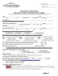 supplemental student information form - Northwest College