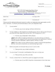 Self-Supporting Status Confirmation Form - Northwest College