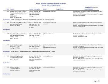 Bid No. 2009-103 - Electrical Supplies and Equipment Vendor List ...