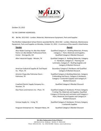 Bid No. 2012-032 - Lumber, Materials, Maintenance Equipment ...