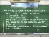 Welcome to Parent Information Night - Deretchin Elementary School