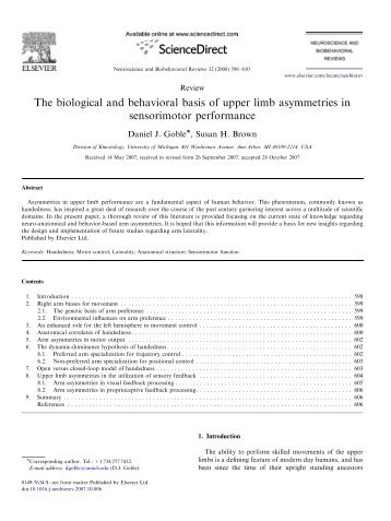 The biological and behavioral basis of upper limb asymmetries in ...