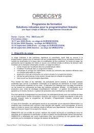 Programme de formation Solutions robustes pour la ... - Ordecsys