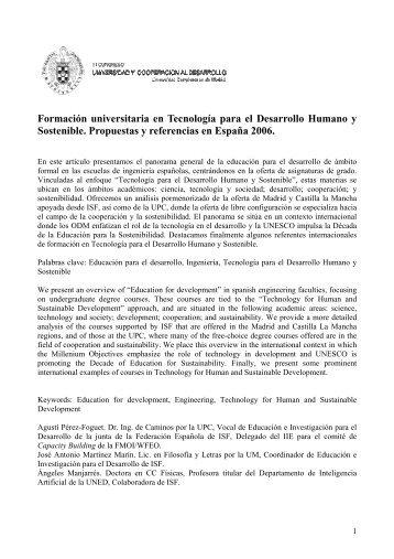 Formación universitaria en Tecnología para el Desarrollo Humano y ...