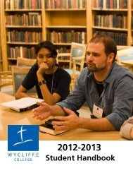 Student Handbook - Wycliffe College