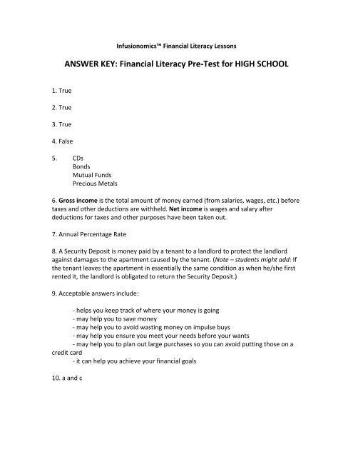 Answer Key HIGH SCHOOL PRE TEST FINAL Infusionomics