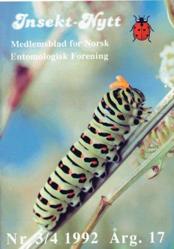 Insektnytt nr. 3/4 (1992) - Norsk entomologisk forening