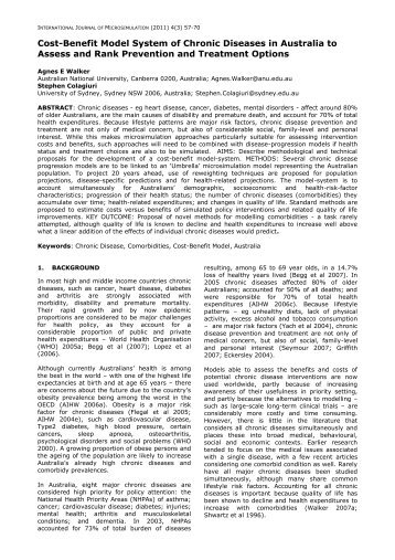 Cost-Benefit Model System of Chronic Diseases in Australia to ...