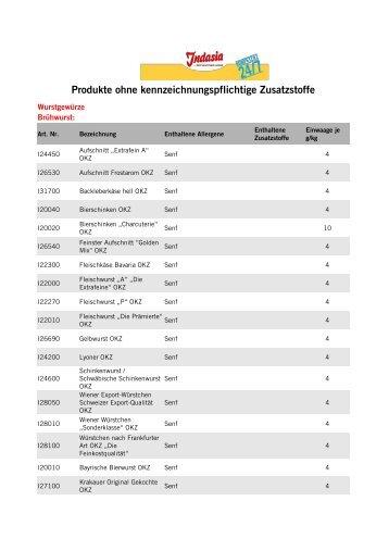 Produkte ohne kennzeichnungspflichtige Zusatzstoffe - Indasia.de